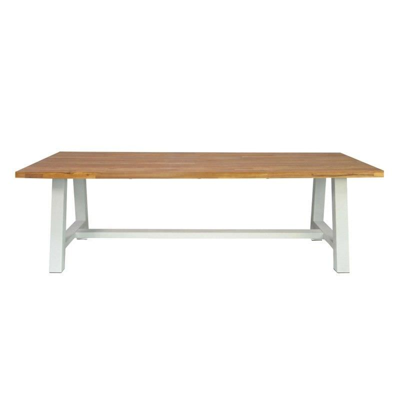 Emerson Solid Acacia Timber & Steel 250cm Indoor/Outdoor Dining Table - White