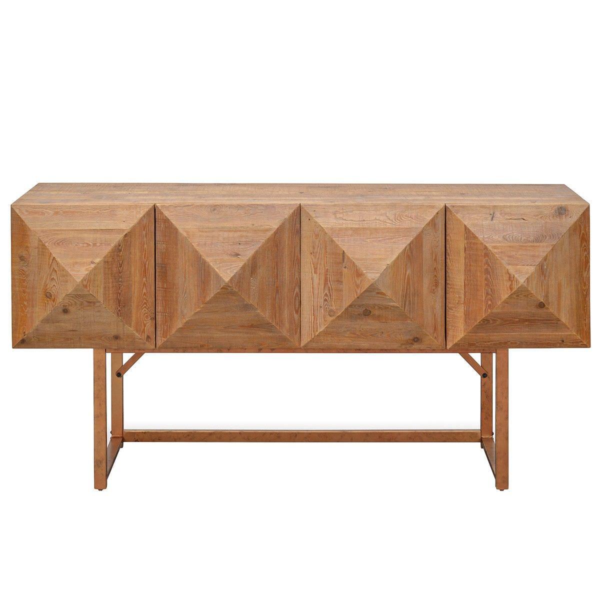 Berrigan Reclaimed Timber & Iron 4 Door Accent Console Table, 180cm, Natural