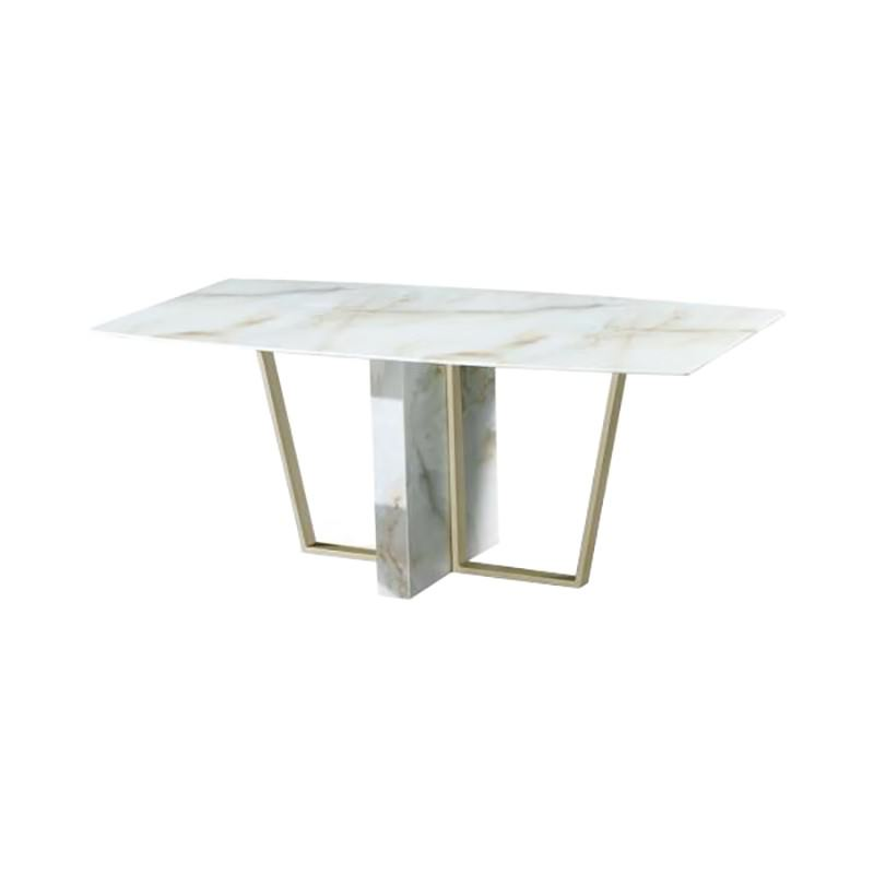 Mavis Glass Topped Metal Dining Table, 180cm