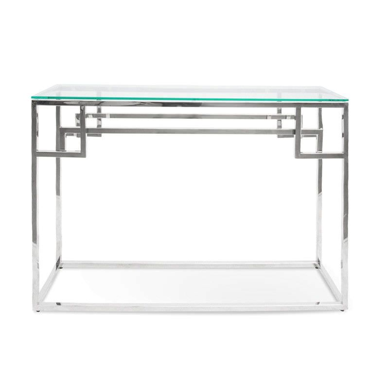 Mackerel Glass & Stainless Steel Console Table, 115cm, Silver