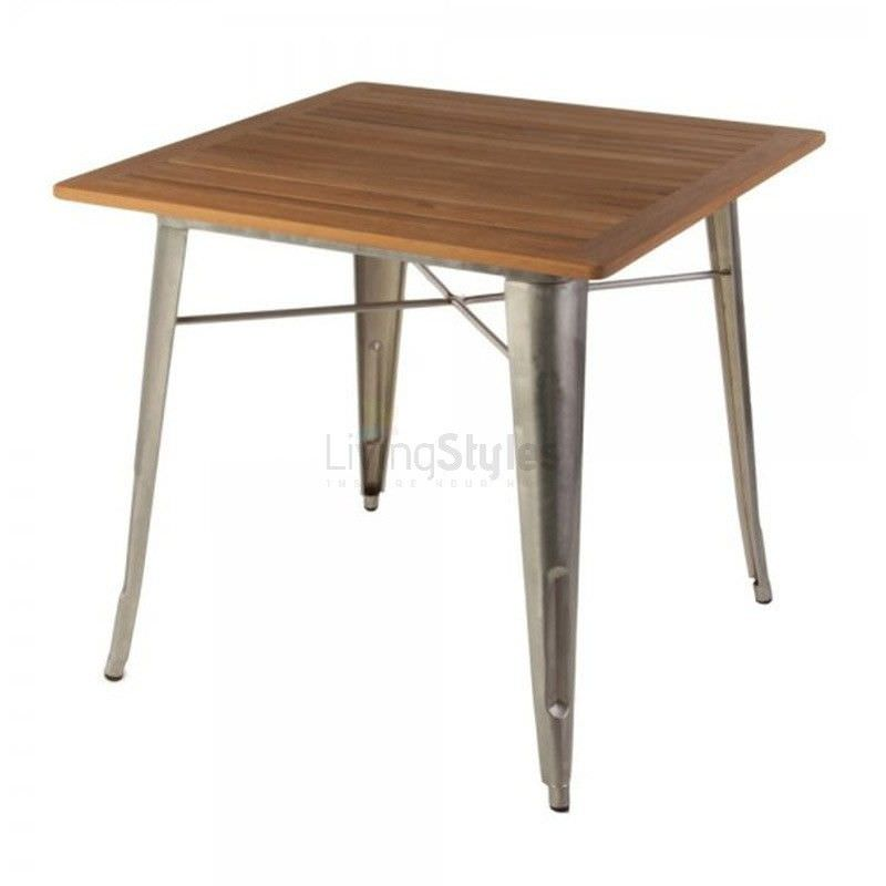 Replica Tolix Teak Top Metal Square Dining Table, 80cm, Natural / Silver