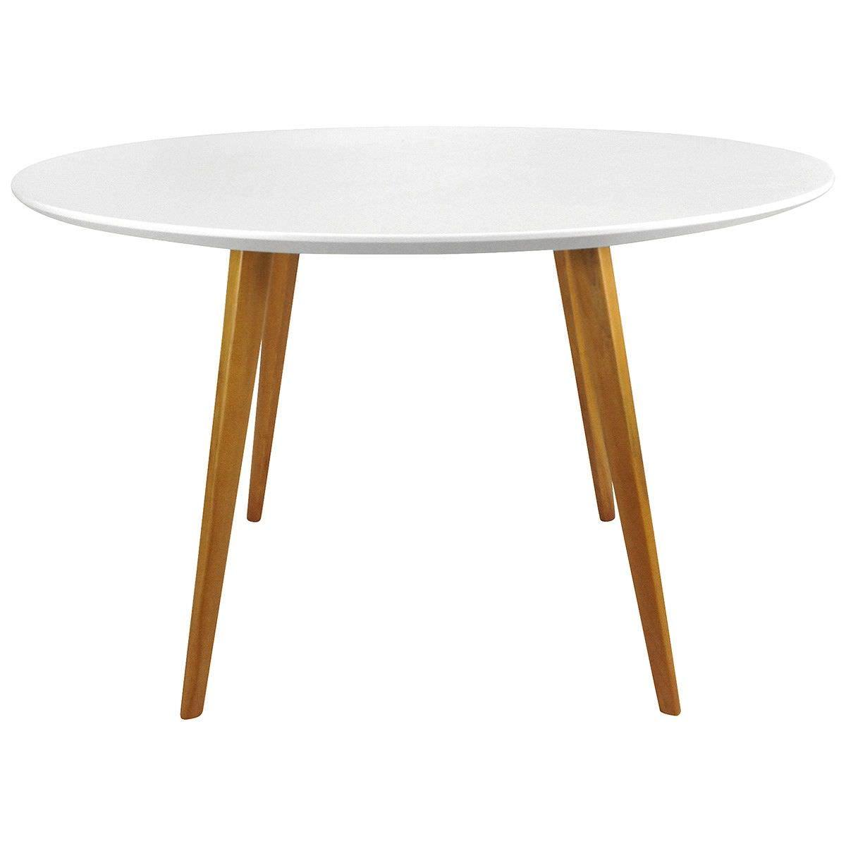 Replica Mario Cellini Halo Round Dining Table, 120cm, White / Walnut