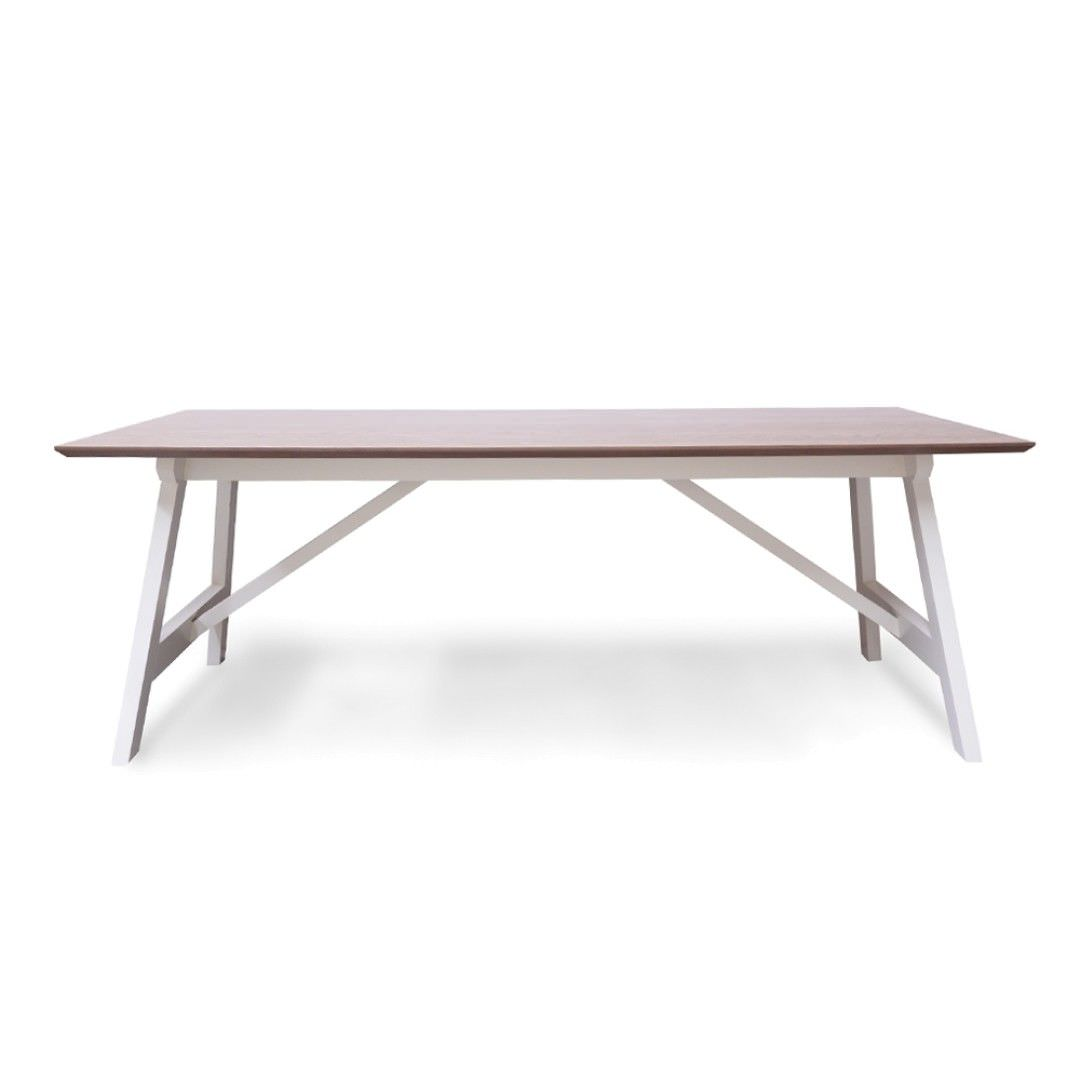 Brons Solid Timber Trestle Dining Table, 210cm