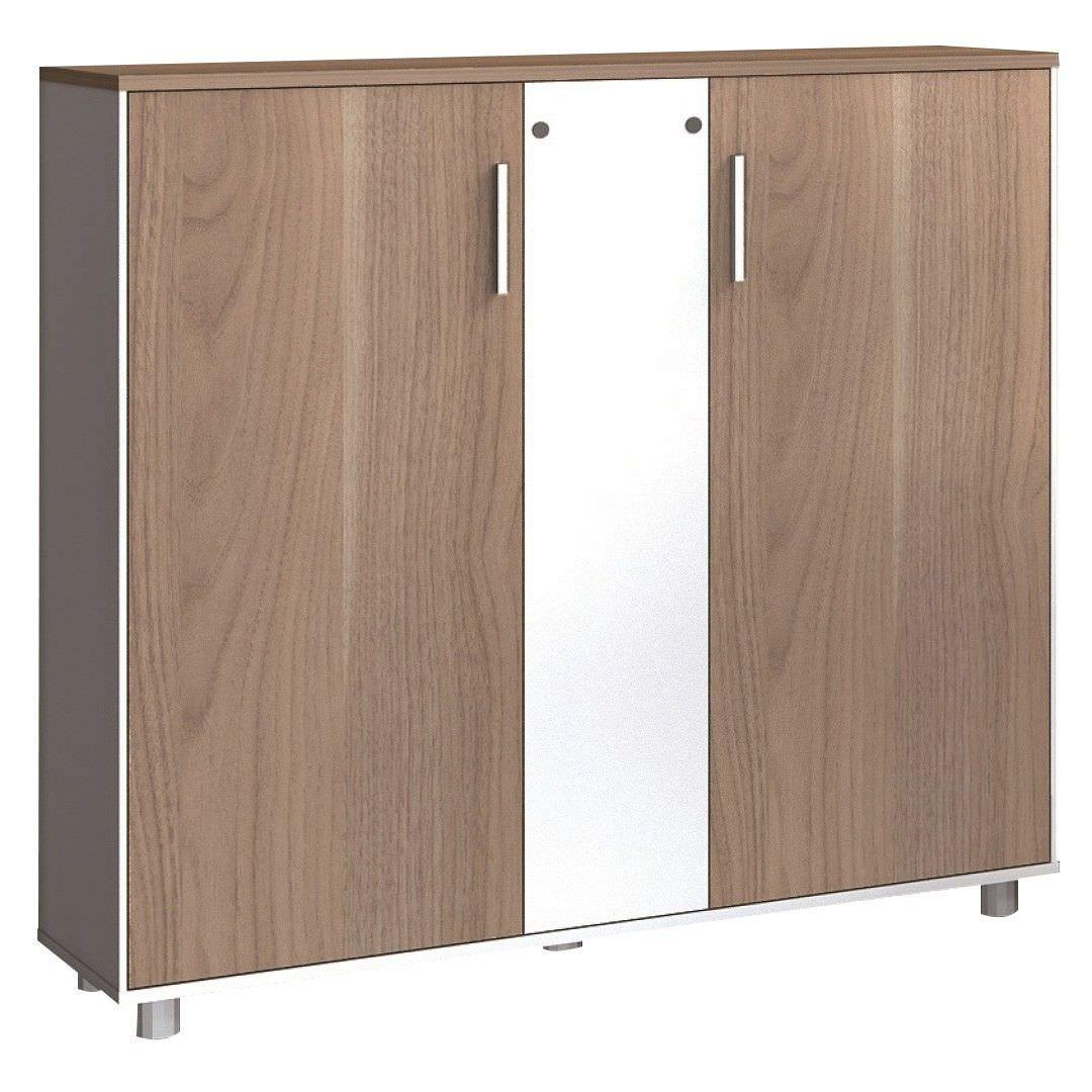 Moora 2 Door Office Storage Cabinet, Walnut / White