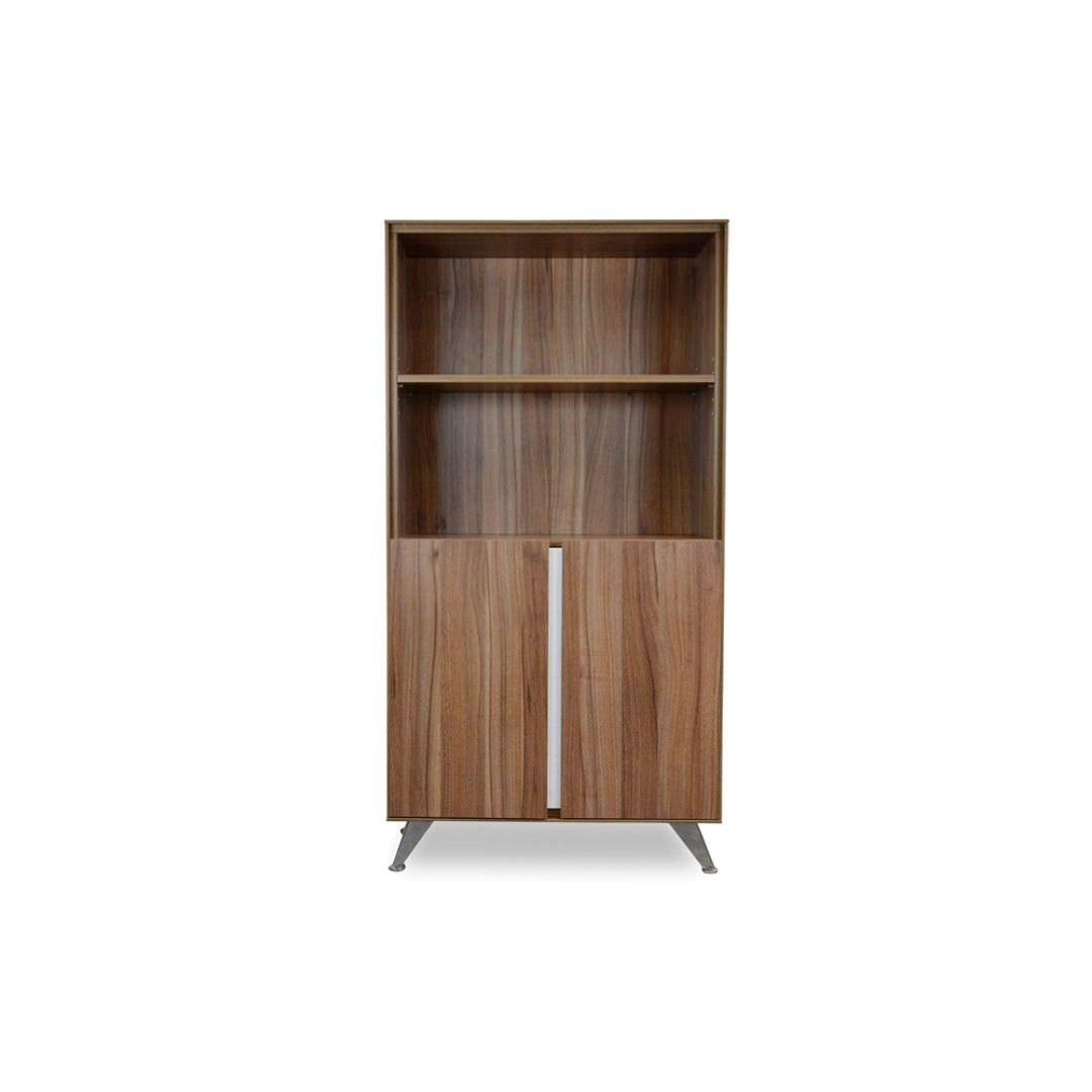 Milando 2 Door Office Cabinet with Bookshelf, Walnut