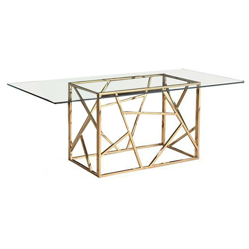 Loiri Glass & Stainless Steel Dining Table, 200cm