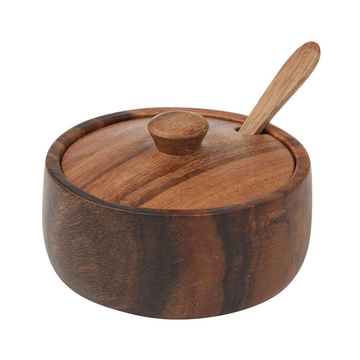 Davis & Waddell Acacia Timber Storage Bowl with Lid & Spoon