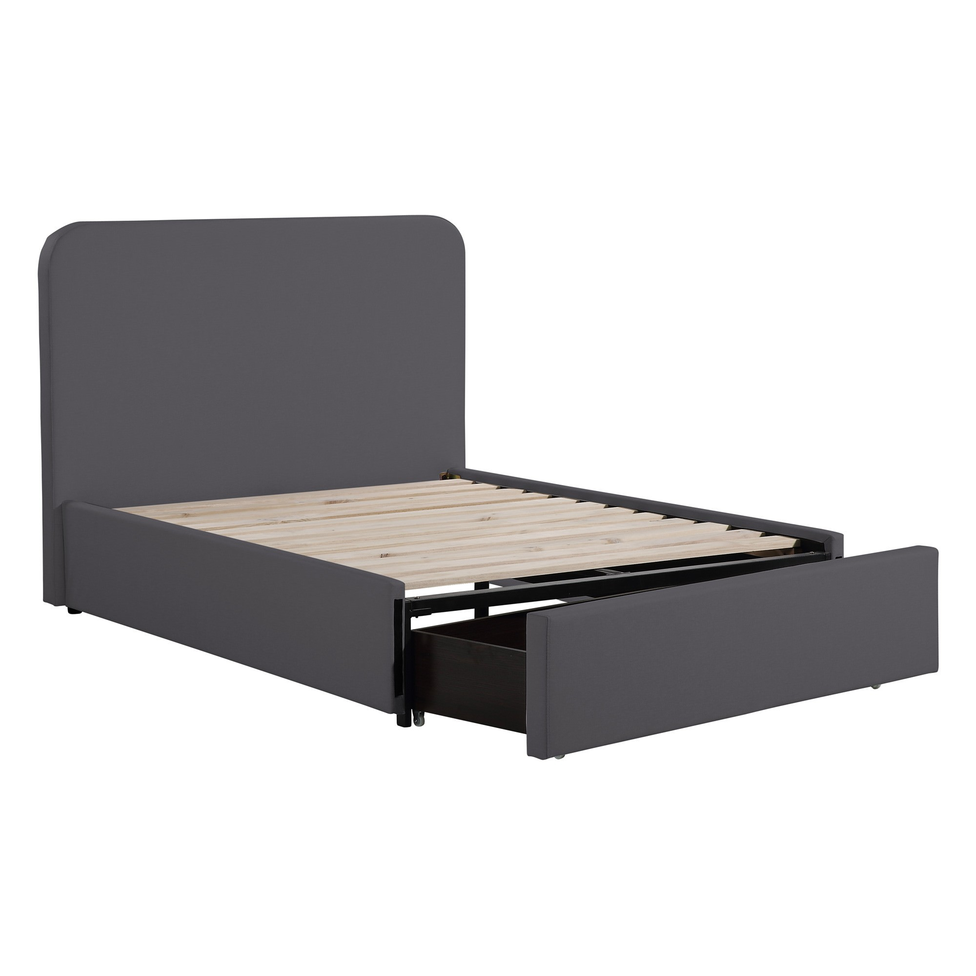 Duke Fabric Bed with End Drawer, King Single