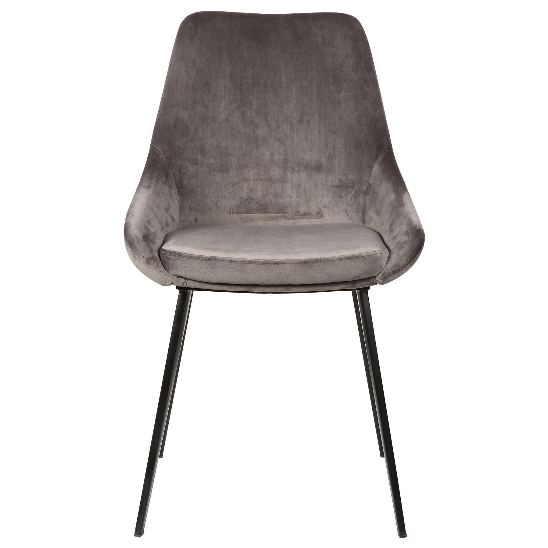 Domo Commercial Grade Velvet Fabric Dining Chair, Grey