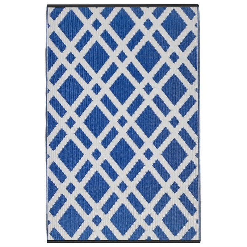 Dublin Outdoor Rug in Blue and Dazzling White - 180x270cm