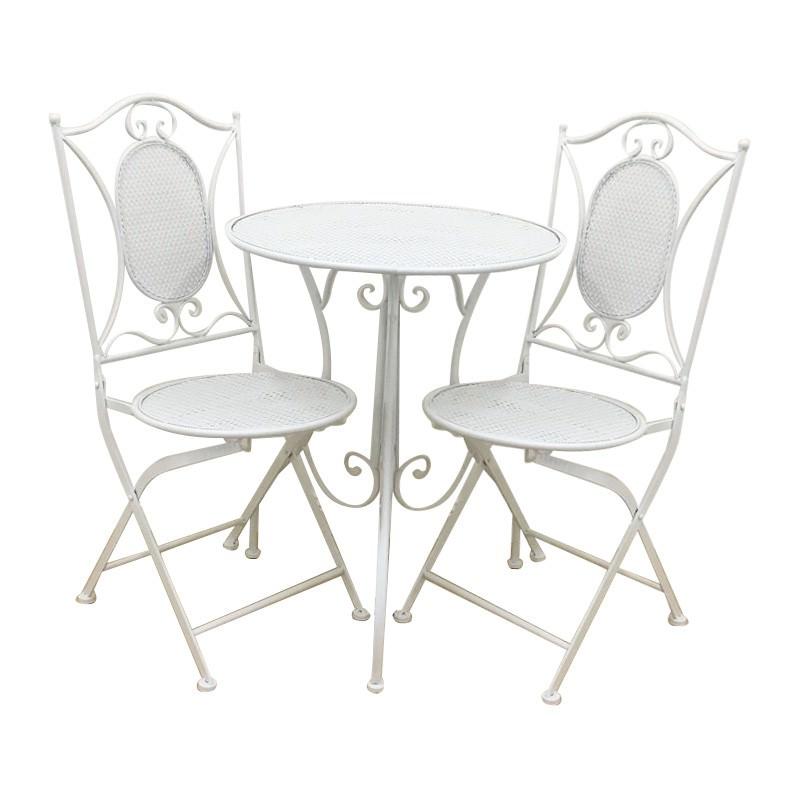 Vincent 3 Piece Metal Garden Table Set, White