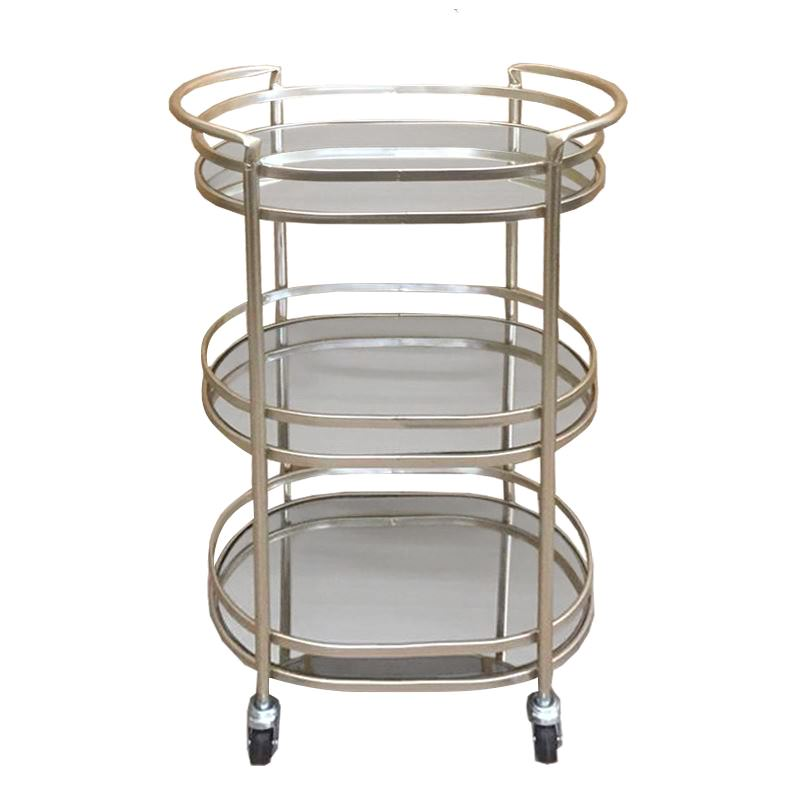 Clover Mirror & Metal 3 Tier Oval Drink Trolley, Champagne / Mirror