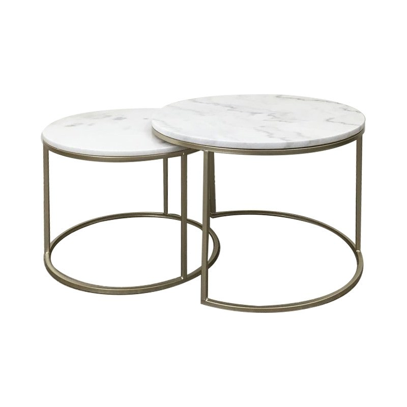 Miles 2 Piece Marble Top Metal Round Nesting Coffee Table ...