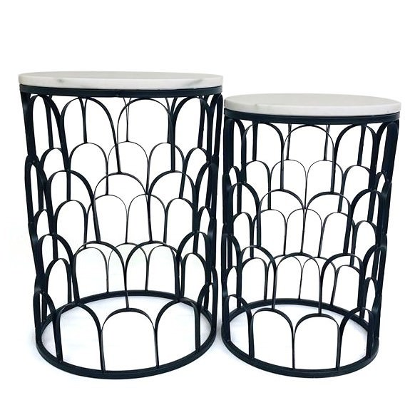 Stephanie 2 Piece Metal & Marble Side Table Set, Black