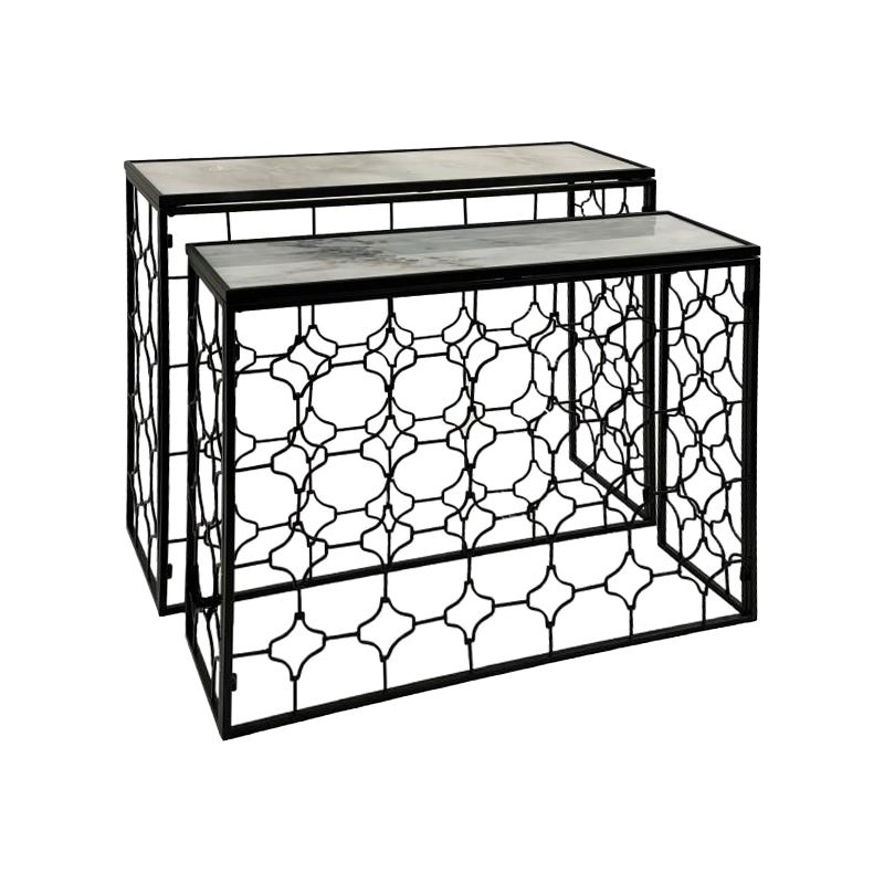 Laura 2 Piece Marble Topped Metal Nesting Console Table Set