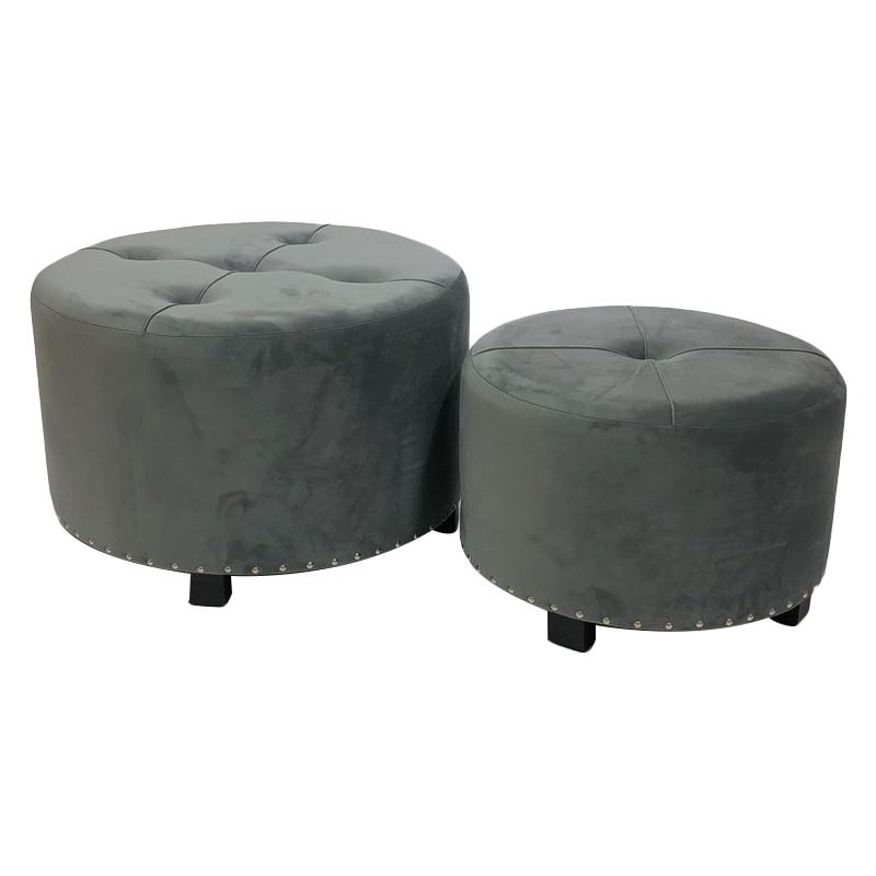 Hayley 2 Piece Velvet Fabric Round Ottoman Set, Grey