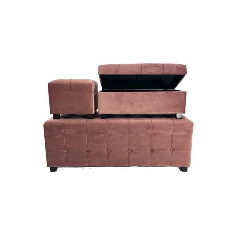 Hayley 3 Piece Velvet Fabric Storage Ottoman Set, Blush