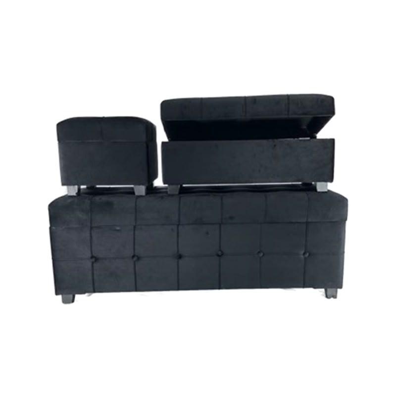 Hayley 3 Piece Velvet Fabric Storage Ottoman Set, Black