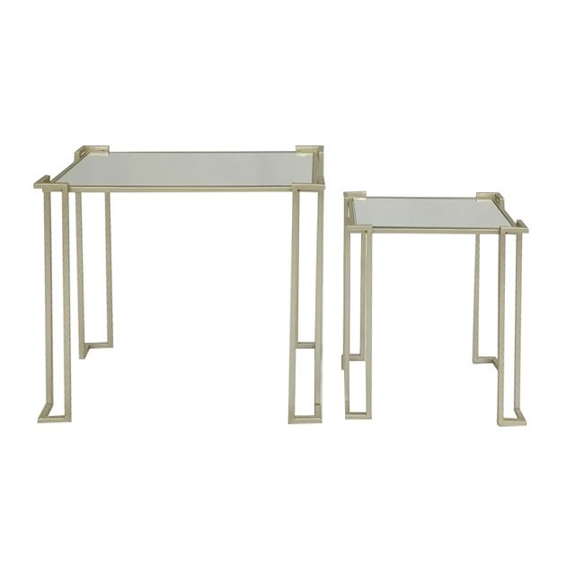 Denise 2 Piece Glass Topped Metal Nesting Side Table Set