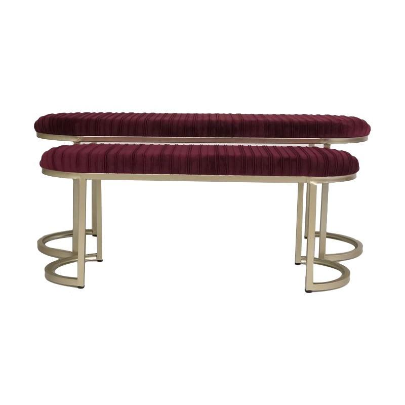 Conor 2 Piece Velvet Fabric & Metal Ottoman Bench Set, 120cm, Burgundy