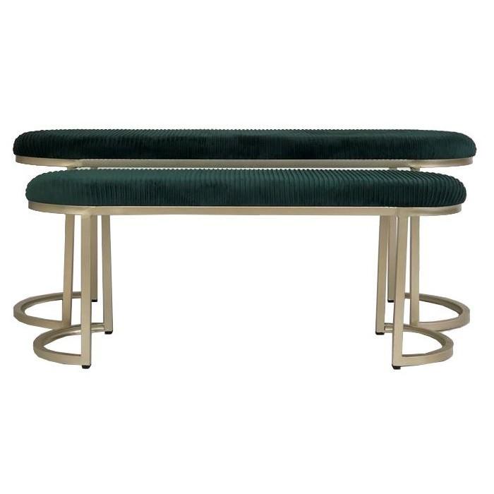 Conor 2 Piece Velvet Fabric & Metal Ottoman Bench Set, 120cm, Green