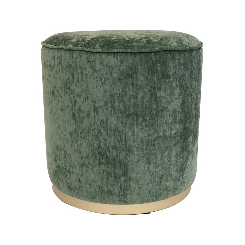 Scully Fabric Round Ottoman, Moss