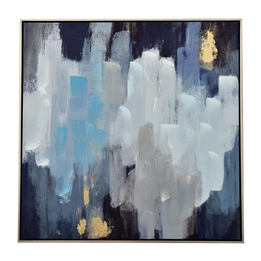 Misty rainy night framed abstract canvas wall art 80cm