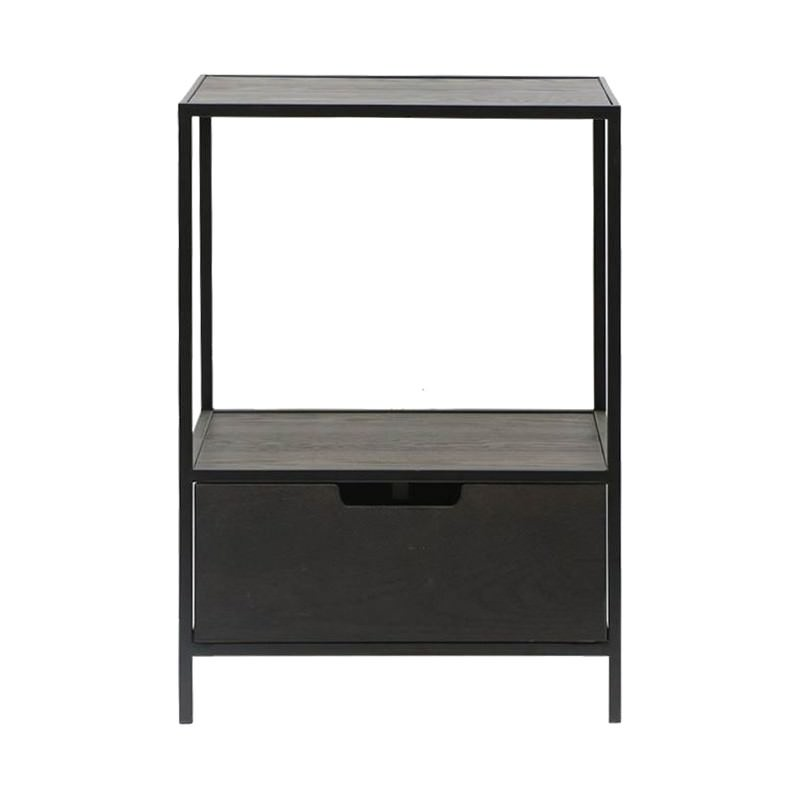 Otto Wood & Metal Bedside Table, Black