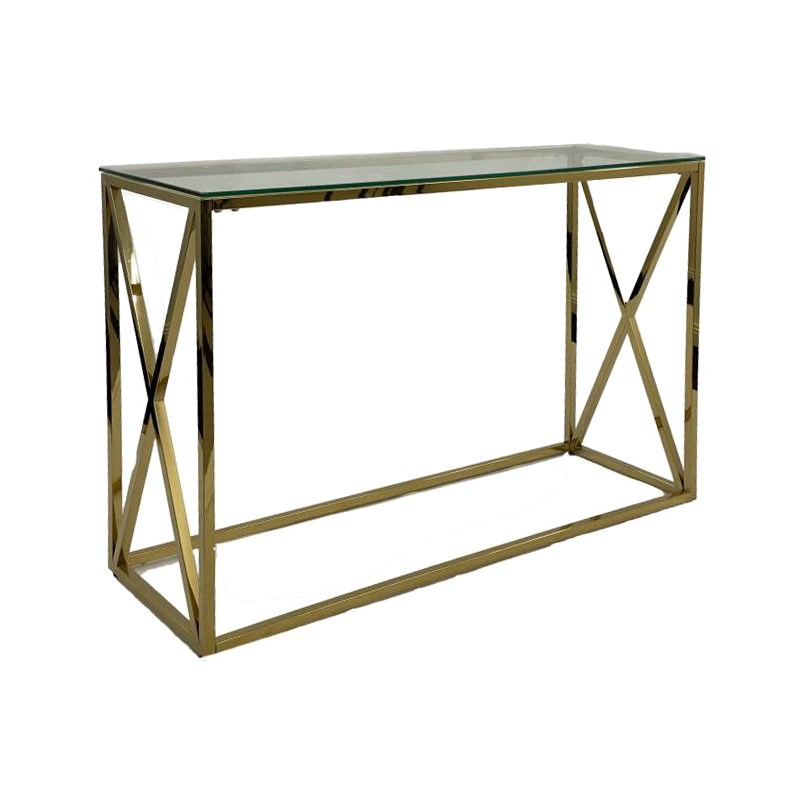 Clover Glass Topped Metal Console Table, 120cm, Gold
