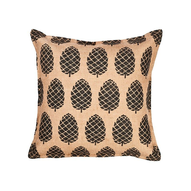 Westie Washed Burlap Scatter Cushion, Pine Cone, Black