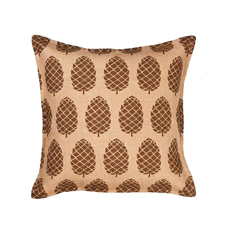 Westie Washed Burlap Scatter Cushion, Pine Cone, Brown