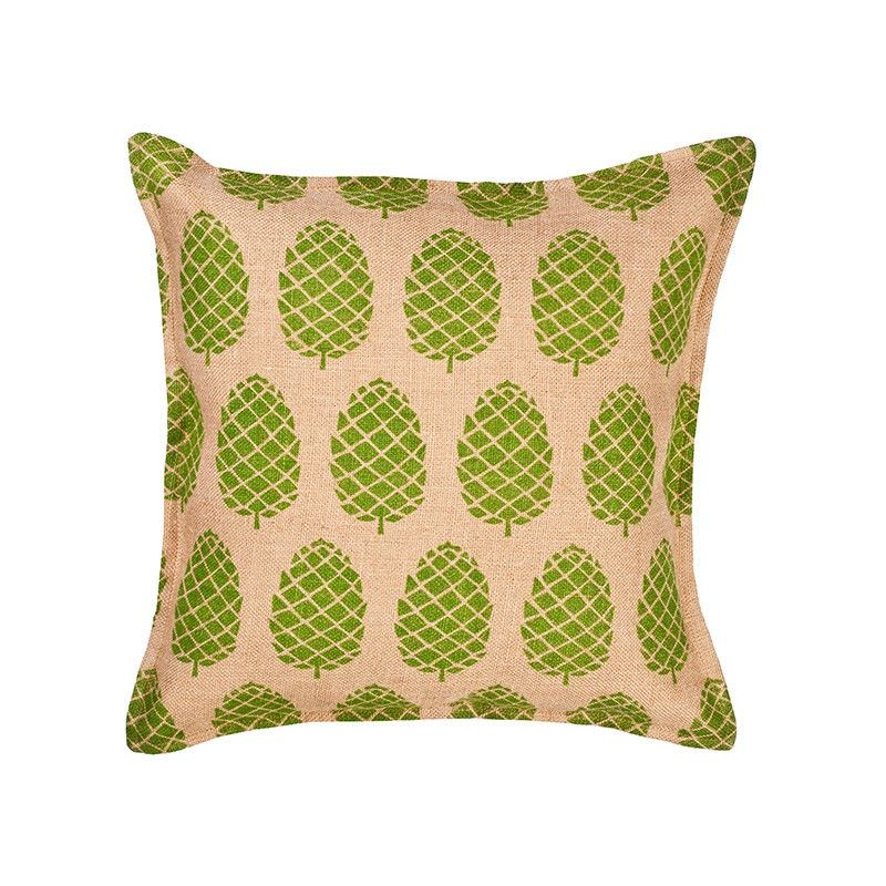 Westie Washed Burlap Scatter Cushion, Pine Cone, Green