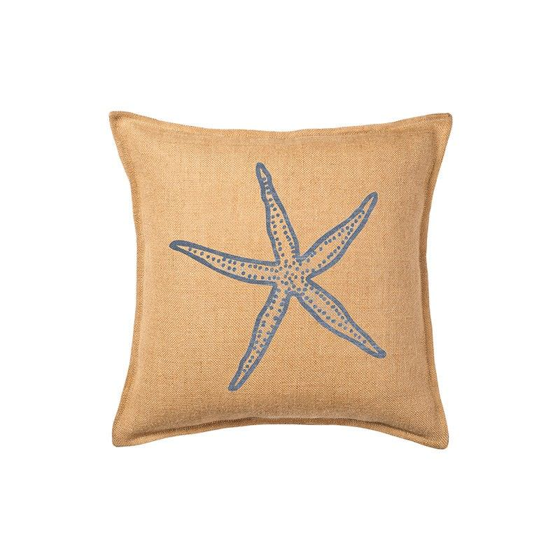 Westie Washed Burlap Scatter Cushion, Blue Starfish