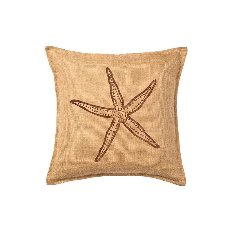 Westie Washed Burlap Scatter Cushion, Brown Starfish