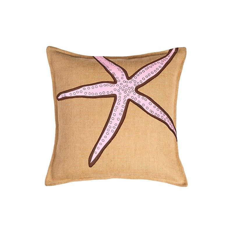 Westie Washed Burlap Scatter Cushion, Pink Filled Starfish