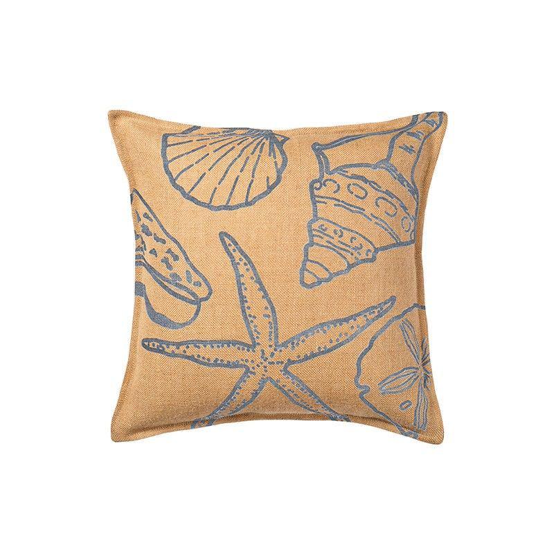Westie Washed Burlap Scatter Cushion, Blue Seashells