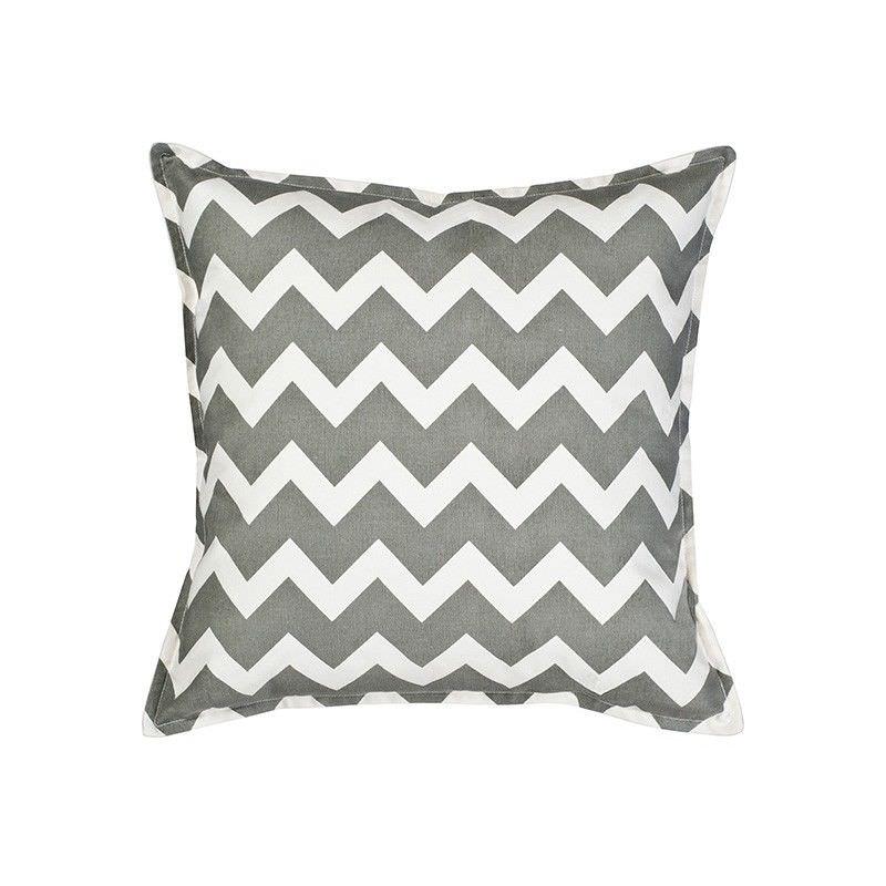 Mossman Chevron Cotton Canvas Scatter Cushion, Grey