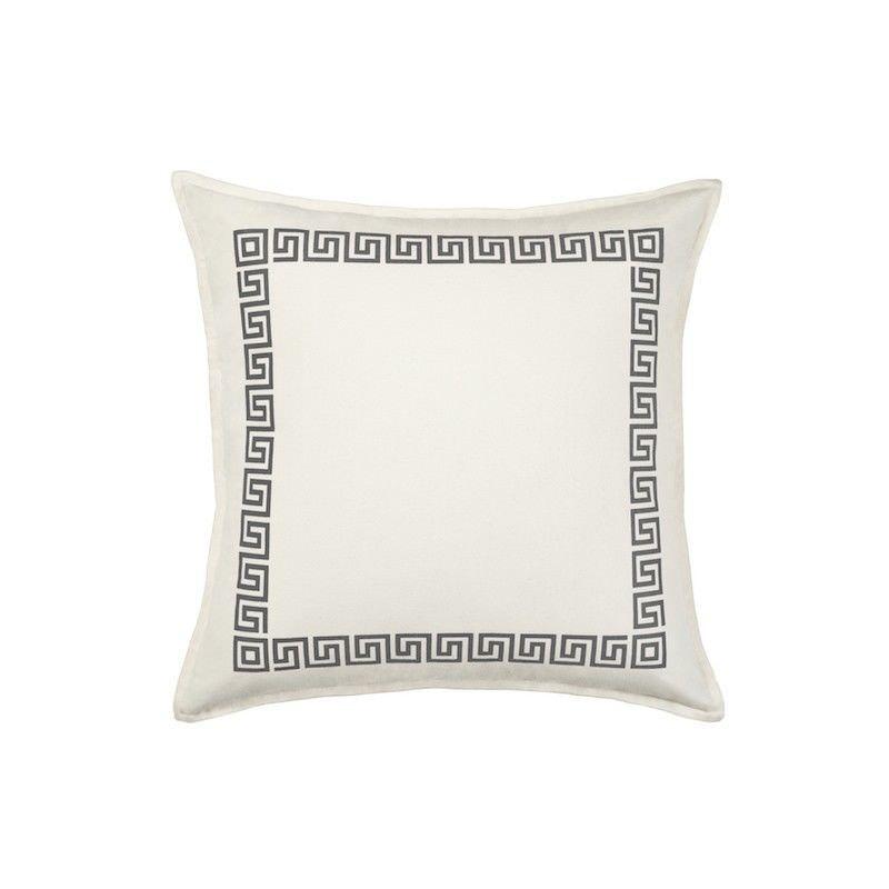Mossman Greek Key Cotton Canvas Scatter Cushion, Grey