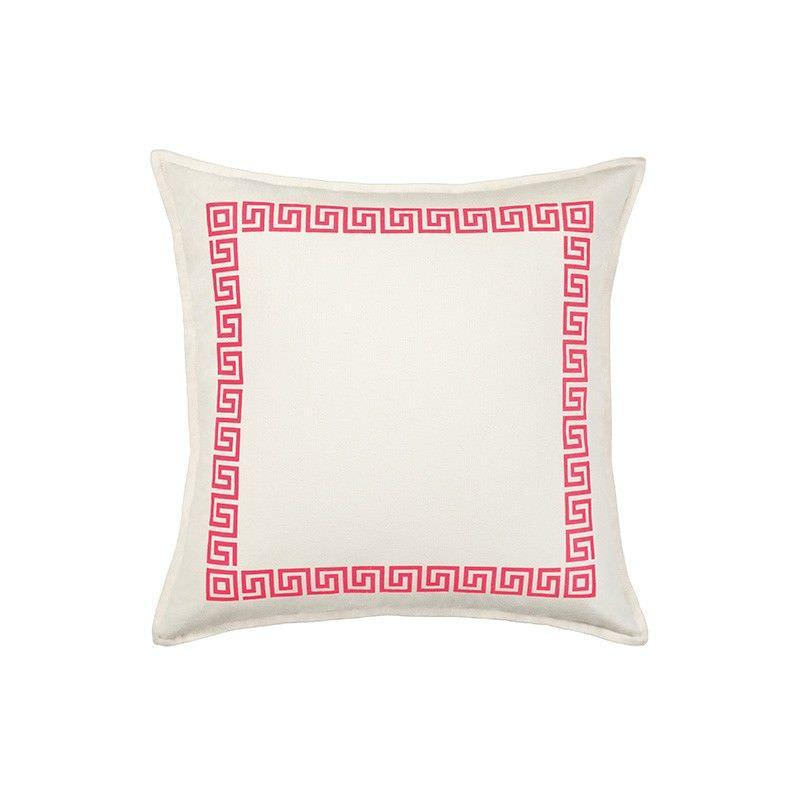Mossman Greek Key Cotton Canvas Scatter Cushion, Pink