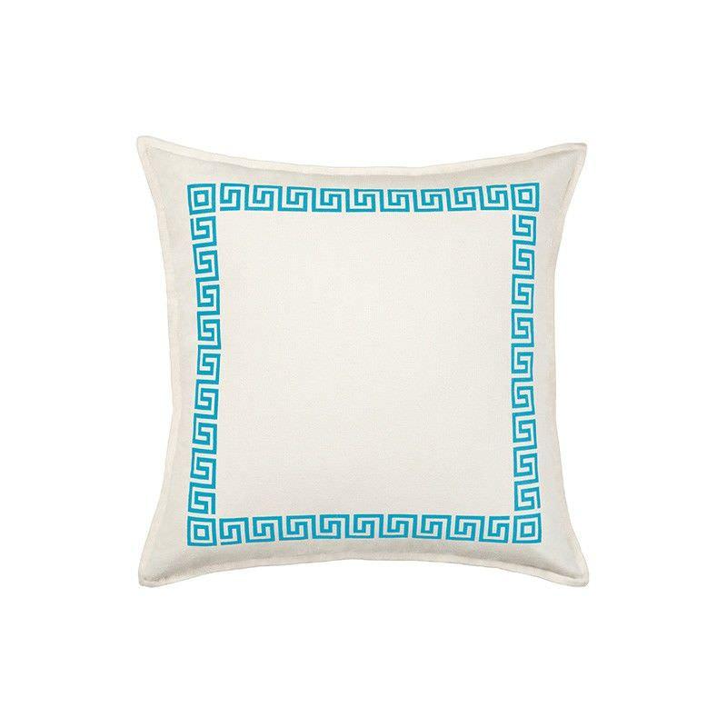 Mossman Greek Key Cotton Canvas Scatter Cushion, Aqua