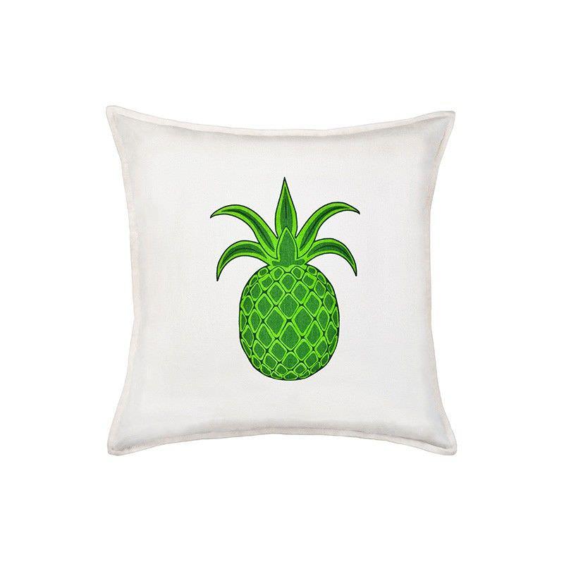 Mossman Cotton Canvas Scatter Cushion, Green Pineapple