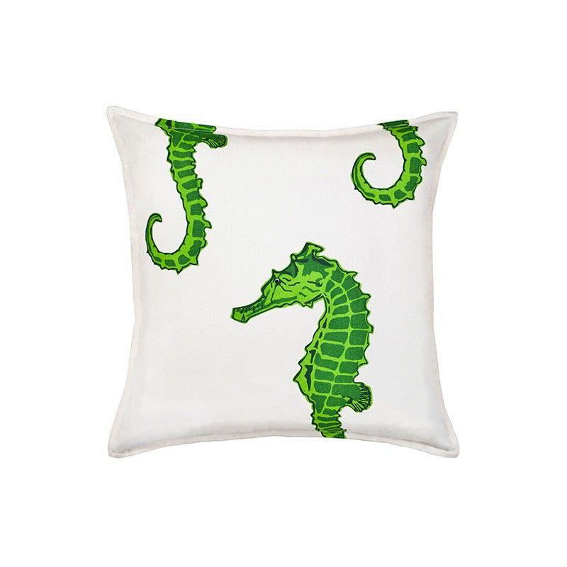 Mossman Cotton Canvas Scatter Cushion, Green Seahorse