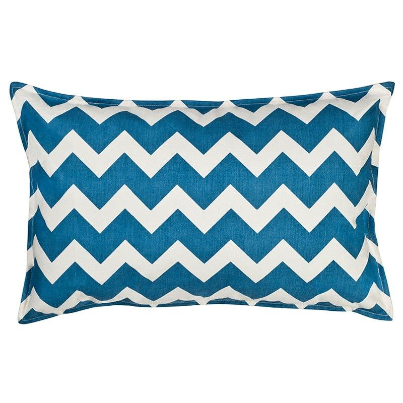 Mossman Chevron Cotton Canvas Lumbar Cushion, Blue