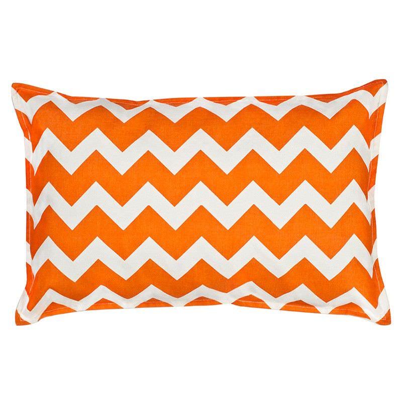 Mossman Chevron Cotton Canvas Lumbar Cushion, Orange