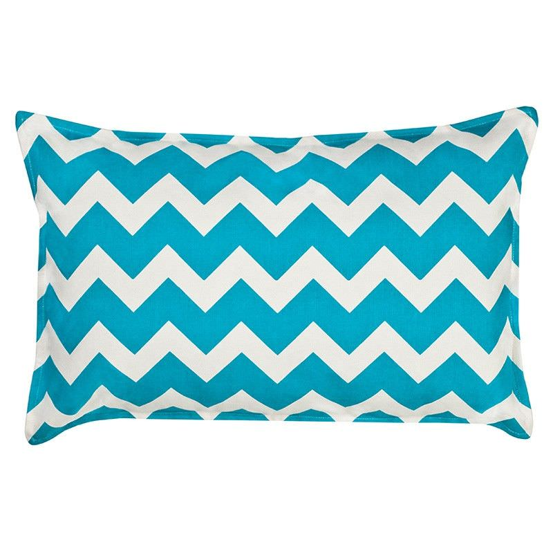 Mossman Chevron Cotton Canvas Lumbar Cushion, Aqua