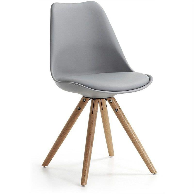 Lakota PU Leather Dining Chair, Timber Leg, Grey / Natural