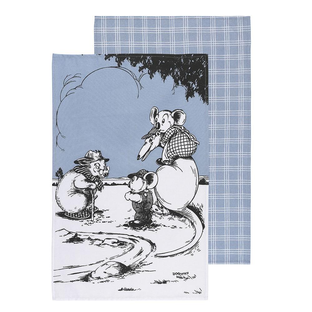Ecology Blinky Bill Cotton Tea Towel, Set of 2, Blue