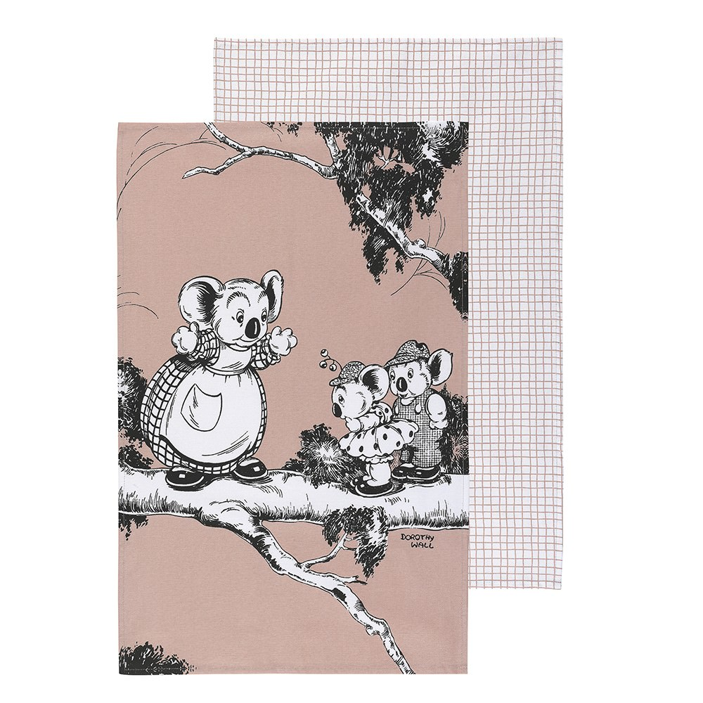 Ecology Blinky Bill Cotton Tea Towel, Set of 2, Coral