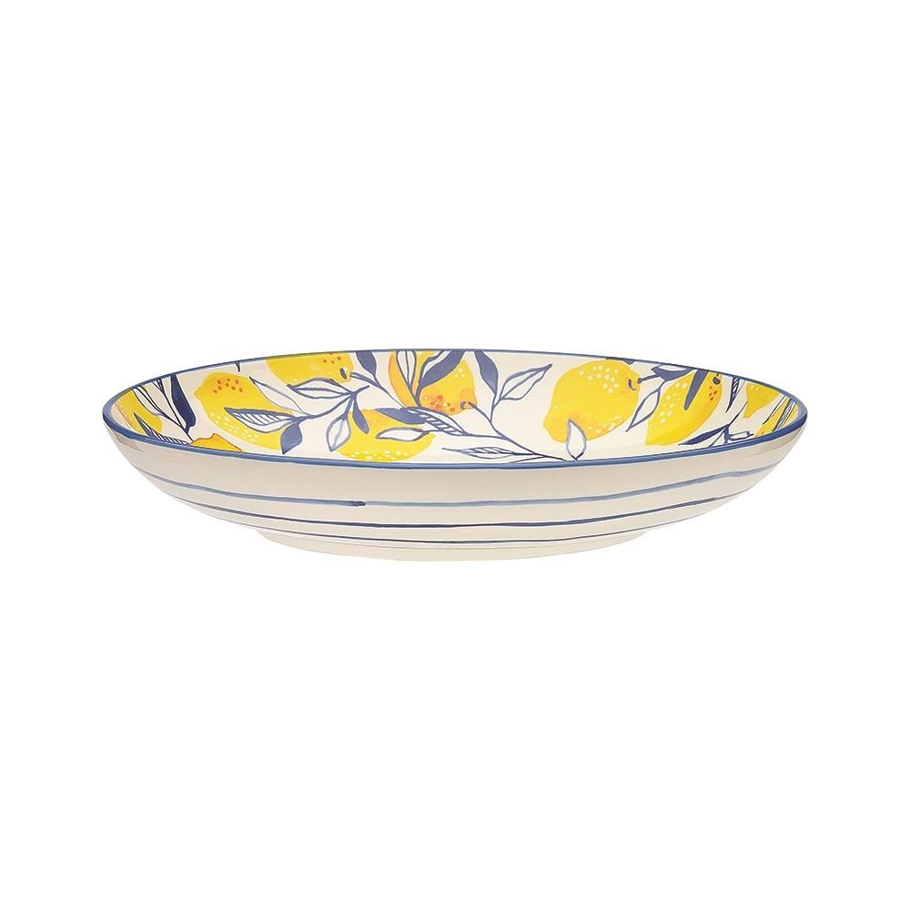 Ecology Punch Stoneware Shallow Bowl, Medium, Lemon