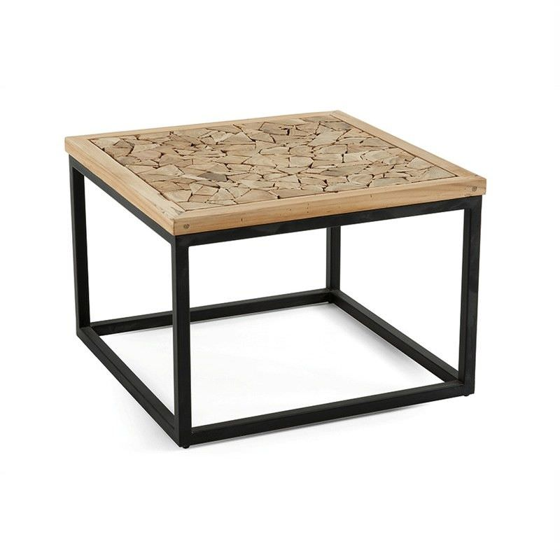 Agdon Teak Timber and Iron 50cm Square Coffee Table